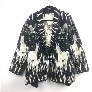 Vintage Flashback Horse Print Cardigan Sweater